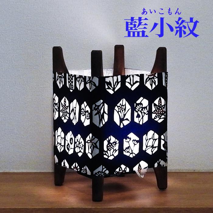 糸車行灯 藍小紋